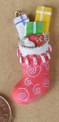 1:12 Scale Mums Filled Christmas Stocking Dolls House Miniature Resin Accessory