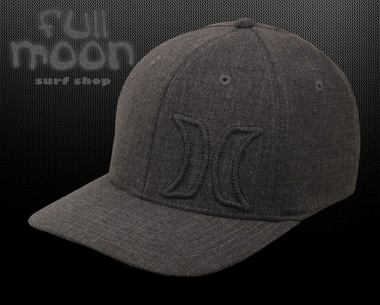 ... good new hurley del mar hermosa fit mens heather black charcoal flex fit  hermosa cap hat 39f4e0380ad