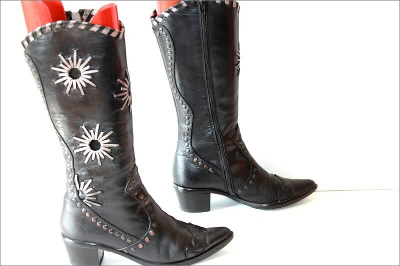 MITICA Mid Boots Pointed Leather Studded Patterns Silver T 36 36 36 e2070b