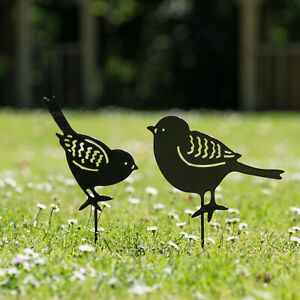 Set-of-2-Metal-Birds-Garden-Stake-Silhouettes-Decorative-Ornament-Bird-Figures