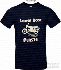 T-Shirt-Lieber-Rost-statt-Plaste-Mopedjungs-Simson-S51-S50-Schwalbe-MZ-DDR