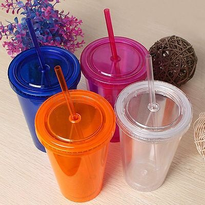 Plastic Drink Cup Iced Juice + Straw Liquid Beaker Lid for Smoothie 4 Colors