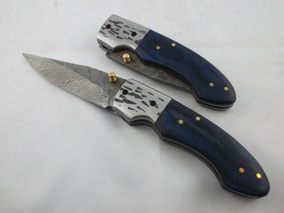 Gamsjaga Damastmesser Taschenmesser GJ05 blau