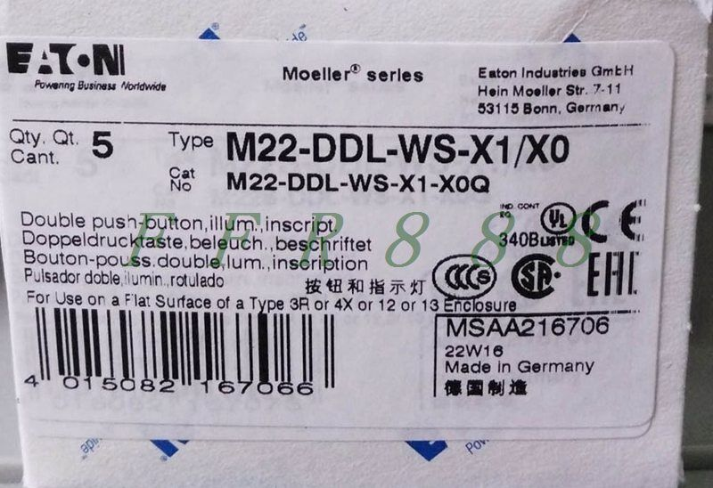 ONE NEW MOELLER M22-DDL-WS-X1 X0