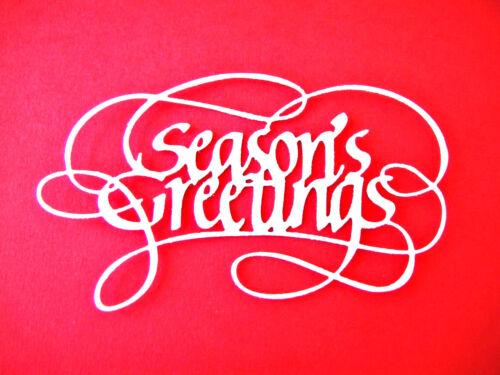 "6 Large /""Season/'s Greetings/"" Christmas Die Cuts Any Colour//Card EC"