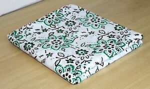 Indian-Green-Floral-Fabric-Hand-Block-Handmade-Printed-Clothes-5-Yards-Crafts