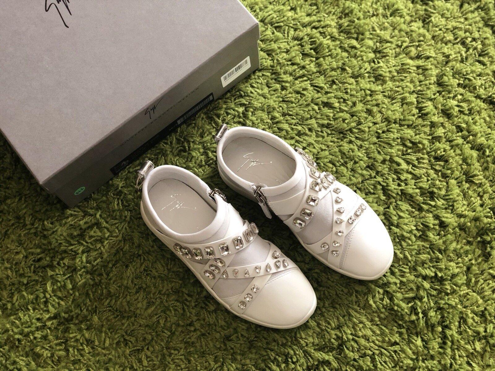 NIB $950 Giuseppe Zanotti White Rhinestone Embellished Sneakers Size 35.5
