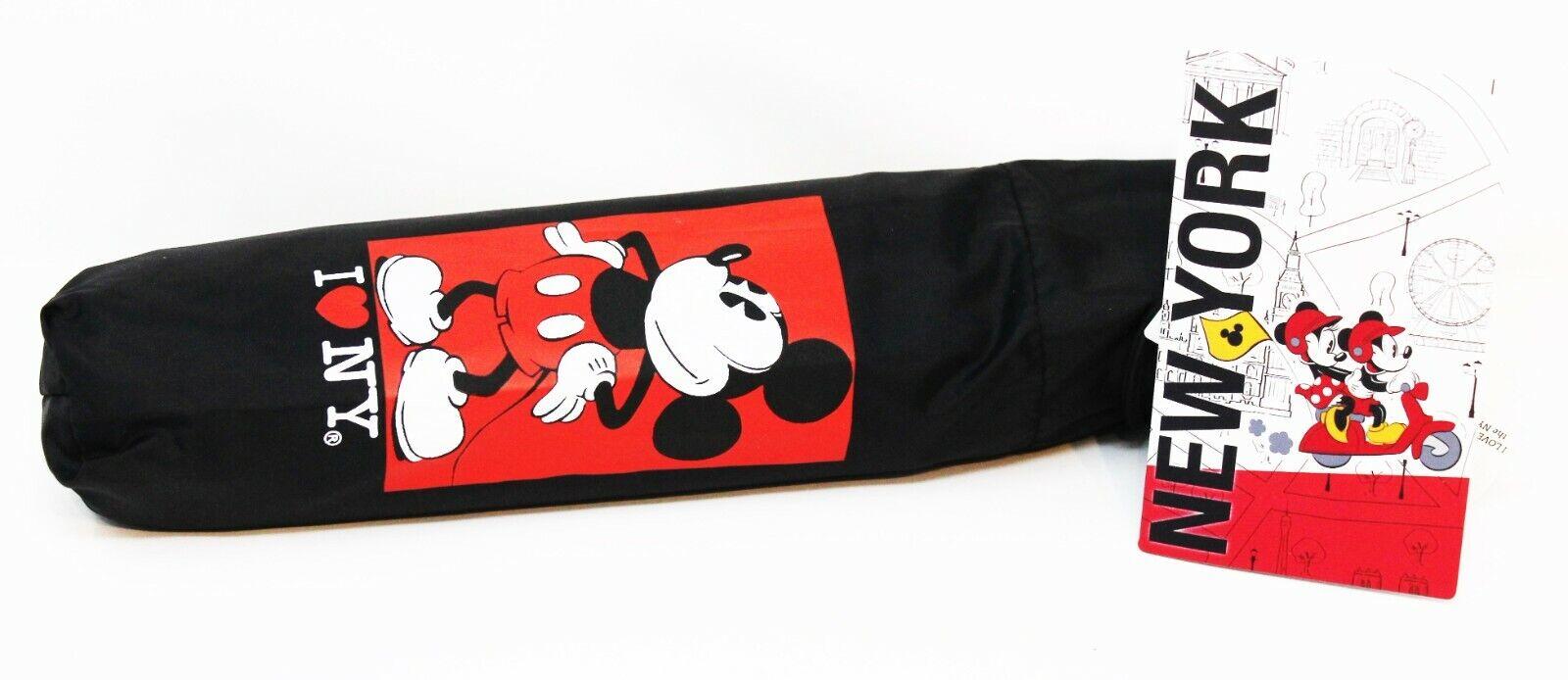 Disney Store I LOVE NEW YORK CITY NYC Black Umbrella Travel Mickey Mouse NEW