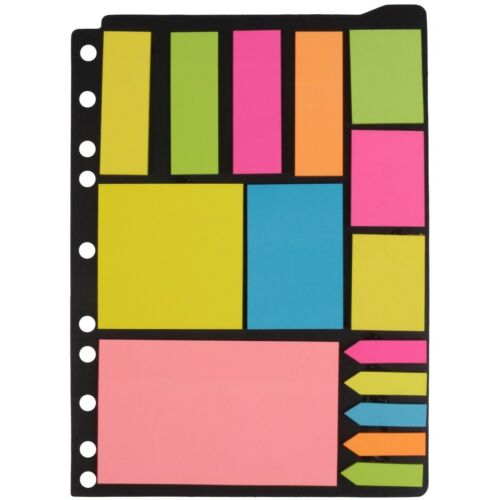 NEON MEMO STICKY NOTES Post Revision It Coursework Office Punched Folder File UK