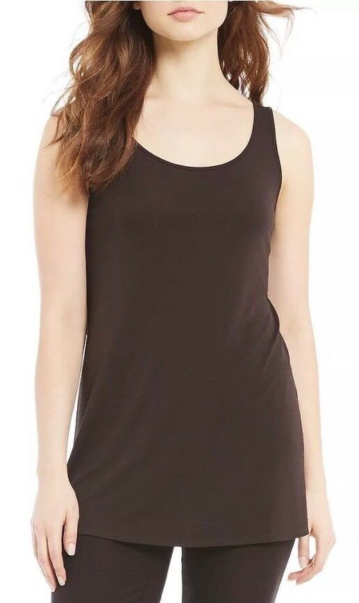 NWT Eileen Fisher Stretch Silk Jersey Chocolate Scoop Neck Tunic  Top