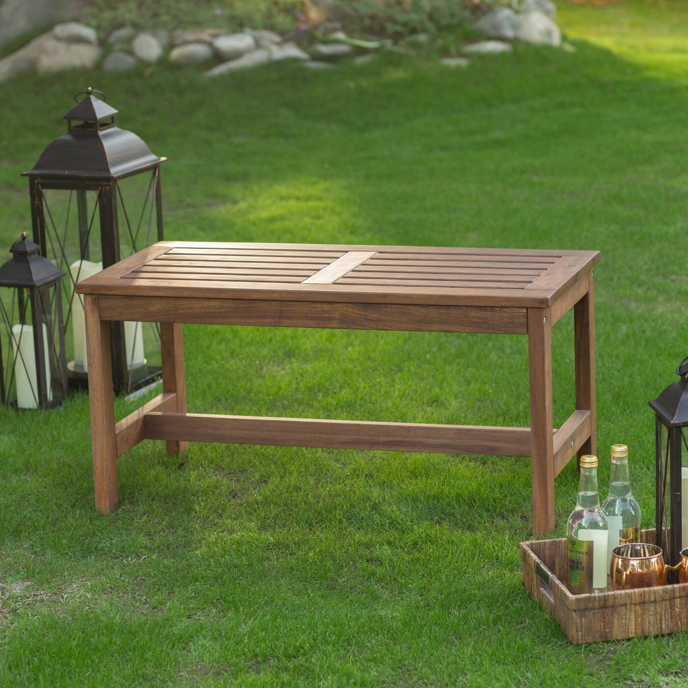 Wooden Benches Outdoor: Outdoor Wood Bench Patio Accent Garden Deck Porch Entryway