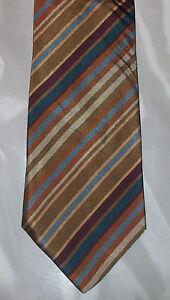 Today-039-s-Man-Silk-Tie-Tan-Brown-Bronze-Maroon-Teal-Stripe-NIB-t862
