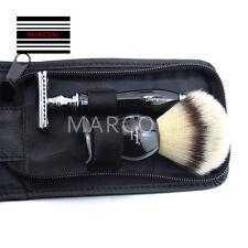 Men Traditional Safety Travel Double Edge Blade Hair Razor and Shaving Brush Set