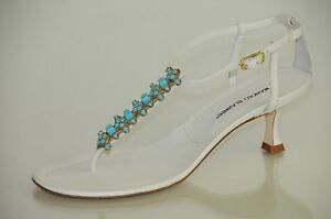 New MANOLO BLAHNIK WHITE Turquoise Jeweled Thong SANDALS Kitten ...