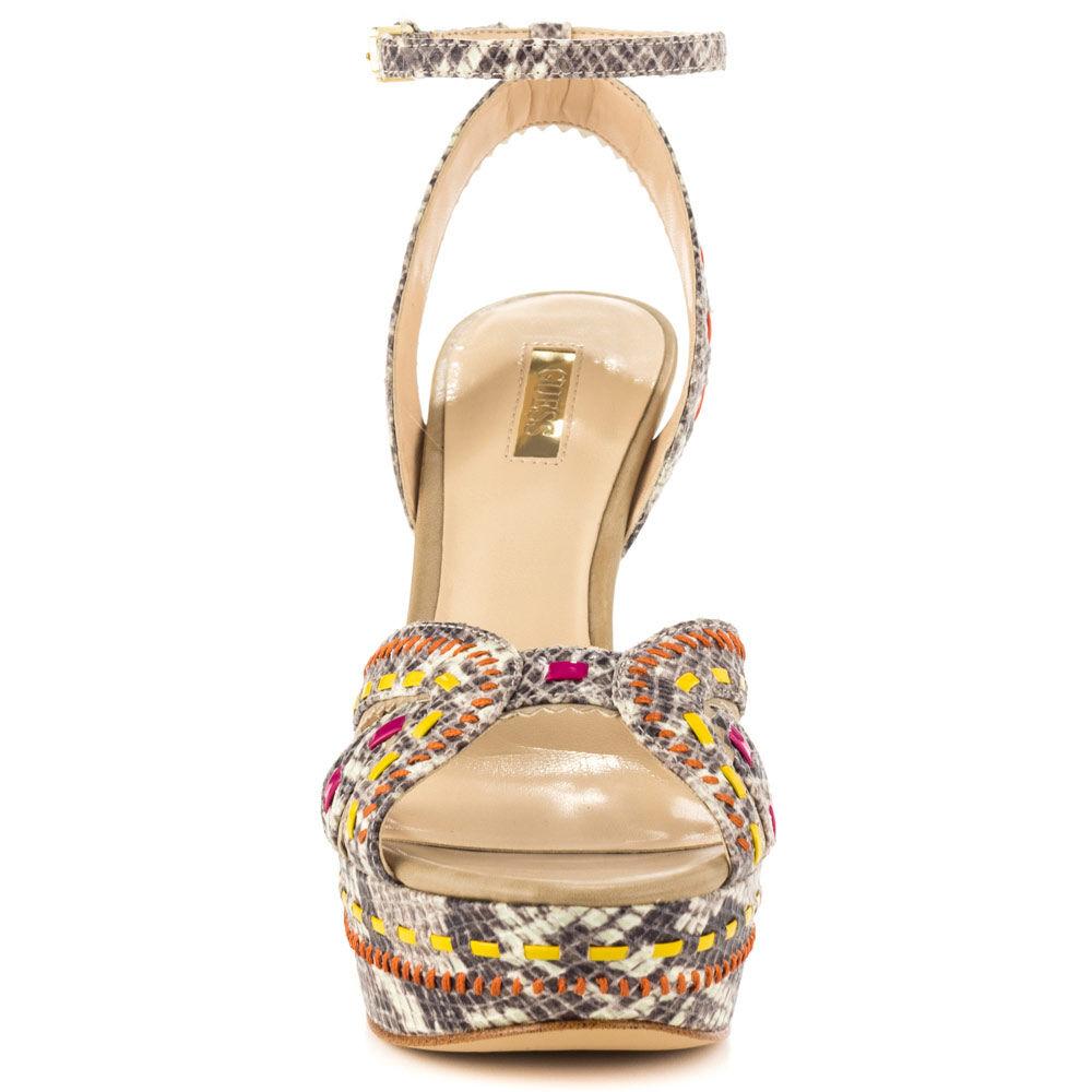 GUESS Odonna Platform Open Sandals Sandals Sandals White Multi Ankle Strap Tribal Python 9.5 New dba24e