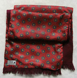 Scarf-Vintage-Retro-MENS-1960s-1970s-SAMMY-RED-BURGUNDY