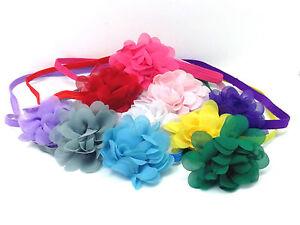 Headband-Hair-Band-Flower-Hair-Accessories-Bow-Elasticated-Chiffon-Baby-Girls
