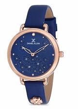 Daniel Klein Women's Watch Italian Leather Band 34mm Analog Rose Gold Tone, Blue