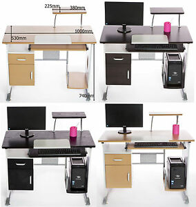 Computer Pc Desk With Drawer Keyboard Shelf Cabinet Cpu