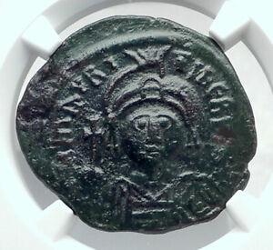 MAURICE-TIBERIUS-Original-Ancient-589AD-Byzantine-Cyzicus-Follis-Coin-NGC-i81452
