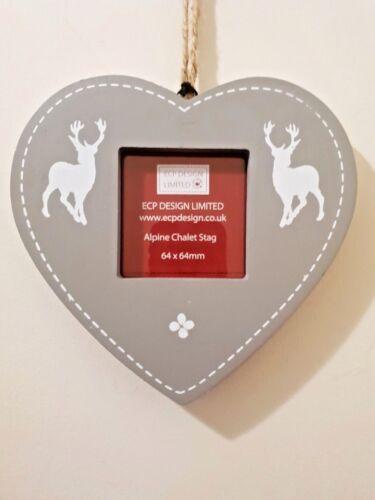 SHABBY CHIC SCANDI STAG PHOTO FRAME NORDIC GREY HEART HANGING CHRISTMAS DECOR
