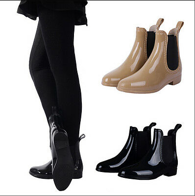 New Women Fashion Ankle Rain Boots Rubber Overshoes Black/Khaki