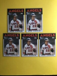 5x Lot 1986 Topps Rod Carew HOF Angels *Noles2148* Combined Shipping Buy 8=Free