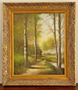Original Landscape Oil Painting H. Verhaaf DUTCH Artist Velvet & Gold Gilt Frame