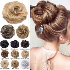 Brown Black Grey Scrunchy Updo Hair Piece Extensions Messy Bun Prom