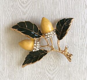 Unique-acorn-brooch-amp-Pendant-enamel-on-Metal-crystals