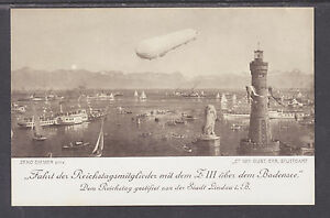 Germany mint PPC. LZ-6 Zeppelin Over the Bodensee
