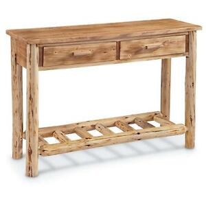Rustic Pine Log Sofa Console Table Premium Lacquer Finish Solid Wood ...