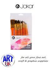 Jakar Artists 10 piece BRUSH SET FOR ACRYLICS gold nylon hair paint colour