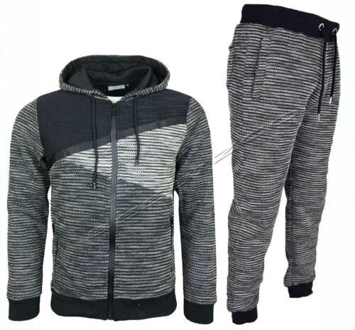 Mens Slim Fit Tracksuit Set Fleece Hoodie Top Bottoms Jogging Joggers Gym S XL