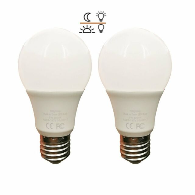 2Pack Dusk to Dawn 5W LED Light Bulb 3000K Light Sensor Bulb Sensor Security