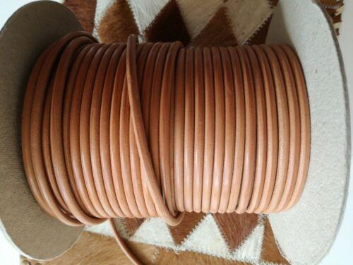 1lfm//3,00€ 2 Meter Lederschnur Rund 5mm Farbe natur Rundlederriemen Hundeleine