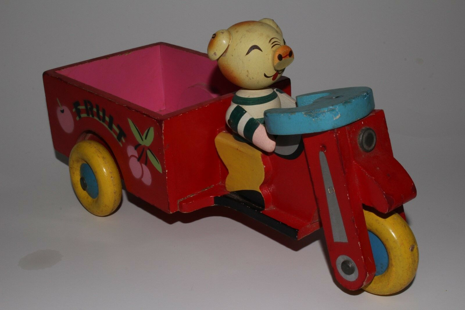 1950's Made in Japan Wooden Fruit Delivery Motorcycle Cart