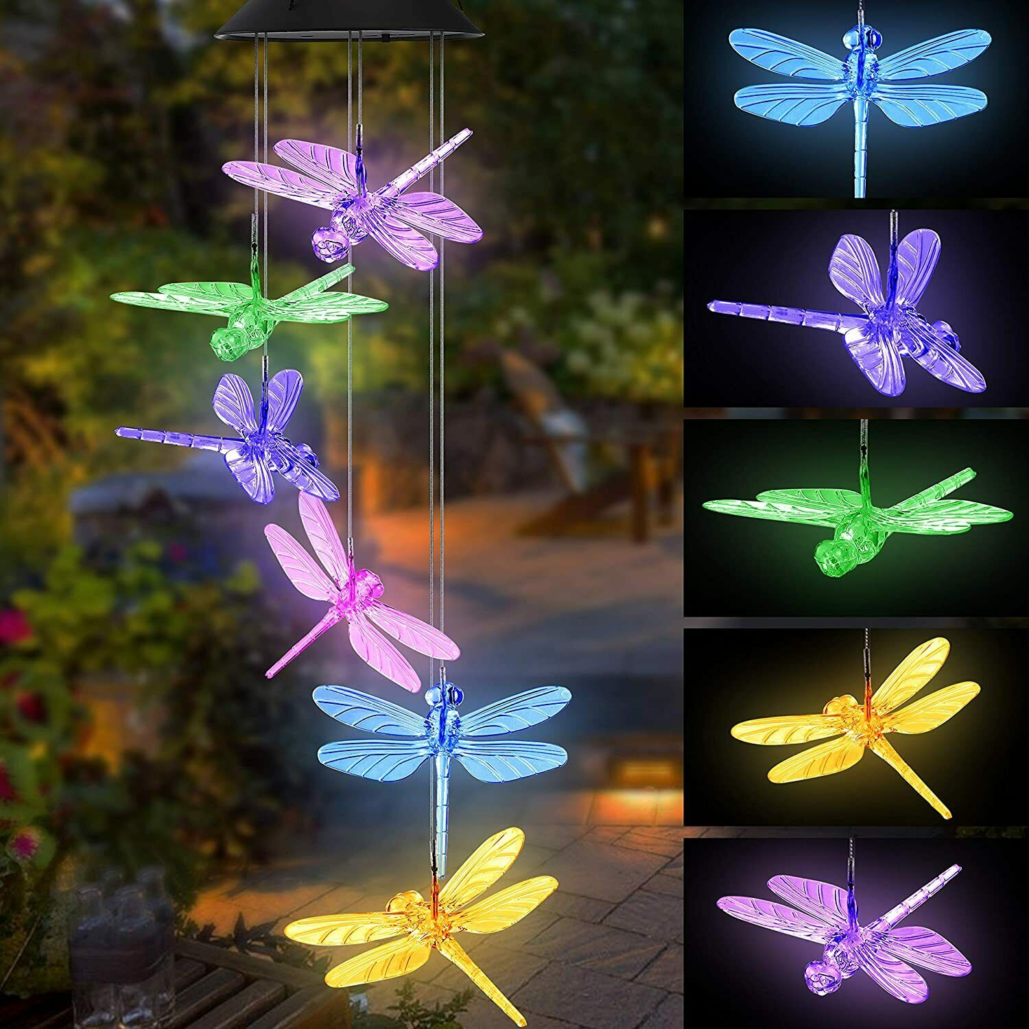 Dragonfly LED Color Changing Power Solar Wind Chimes Yard Ho