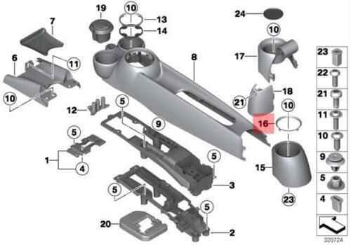 Genuine MINI R50 R52 R53 R55 R56 R57 R58 TRIM RING FOR REAR CUP HOLDER CHROME