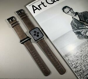 Dark Brown Genuine Leather Strap for Apple Watch 42mm/44mm Series 1,2,3,4,5,6,SE