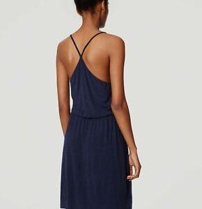 NWT-Ann-Taylor-LOFT-Navy-Blue-Strappy-Blouson-Dress