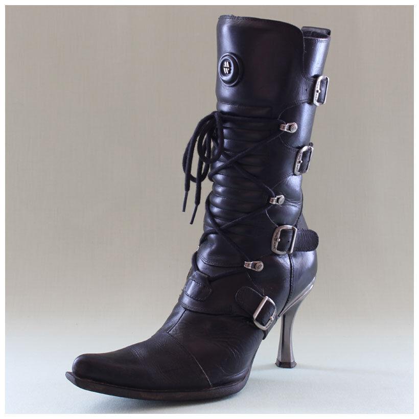 Schnallen mit schwarz Stiefeletten Malicia 40 Gr. Stiefel