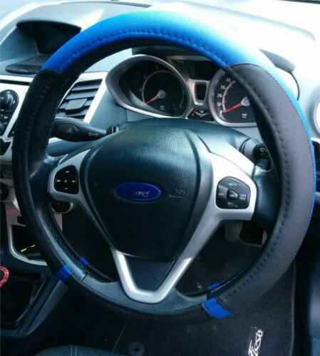 Black Fitted Glove Easy Slip On New Drivers Steering Wheel Cover Blue