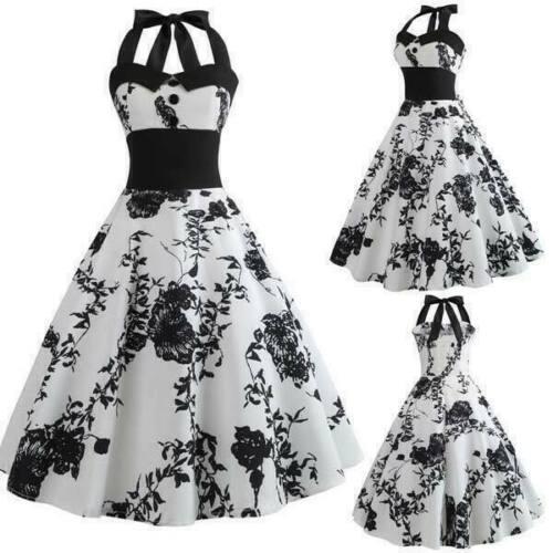 Dresses Party Evening Retro Summer Sleeveless women floral vintage Swing