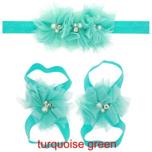 Foot flower Infant Baby Girl Newborn Headband Shoes Rhinestone Hair band