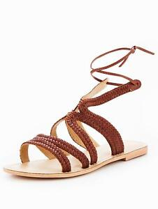buy popular f8423 04293 Details zu OFFICE Saturn Sandalen Gr. 38 Damen LEDER Flach Schuhe Braun R21