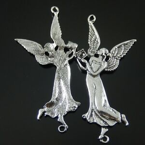12X-Vintage-Style-Silver-Tone-Graceful-Angel-Pendant-Charms-Findings-78-38-3mm