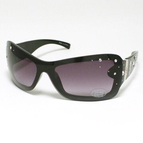 RHINESTONE Shield Style Women/'s Sunglasses BLACK