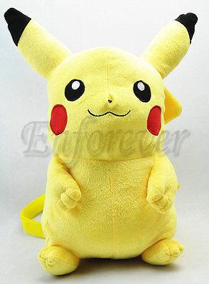 "New Pokemon 16.5"" Very Cute Pikachu Plush Backpack Soft Bag^PC1568"