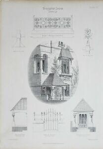 1868-Architektonisch-Aufdruck-Worcester-Lodge-Strasse-Holloway-amp-Truefitt-Tor
